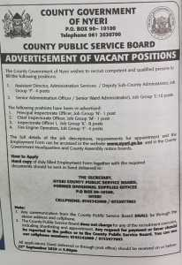 ADVERTISEMENT FOR VACANT POSITIONS