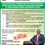WAIVER OF PARTIAL PAYMENTS FOR PSV VEHICLES, MONTHLY MARKET BANDA FEES, EXTENSION OF DEADLINE FOR PAYMENT OF SINGLE BUSINESS PERMIT AND PROPERTY RATES