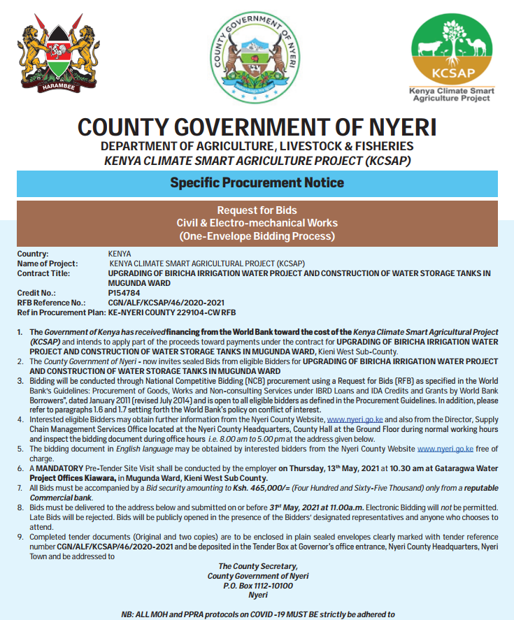 UPGRADING OF BIRICHA IRRIGATION WATER PROJECT AND CONSTRUCTION OF WATER STORAGE TANKS IN MUGUNDA WARD