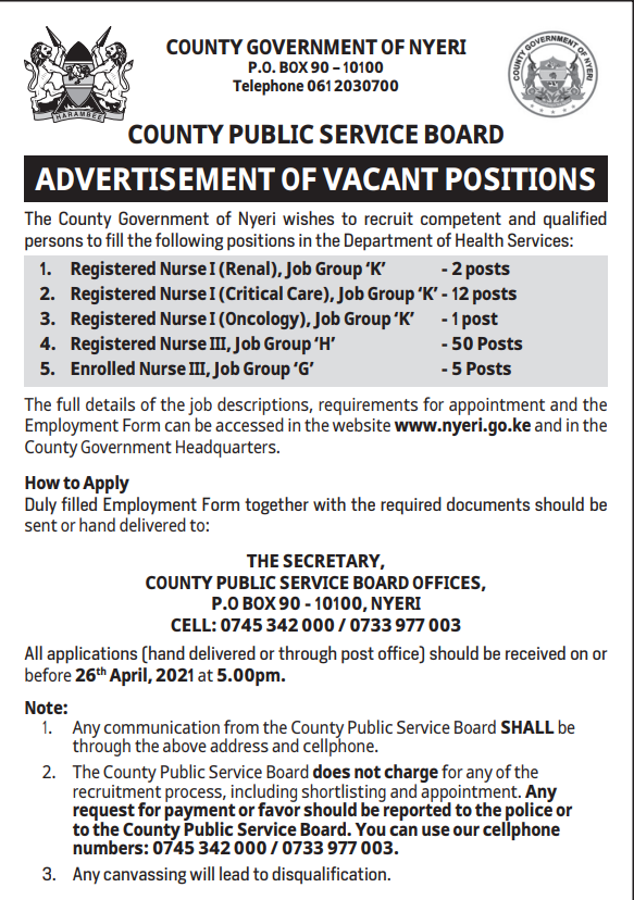 ADVERTISEMENT OF VACANT POSITIONS