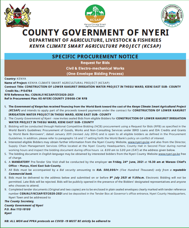 CONSTRUCTION OF LOWER KAKURET IRRIGATION WATER PROJECT IN THEGU WARD, KIENI EAST SUB- COUNTY