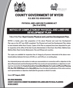 NOTICE OF COMPLETION OF PHYSICAL AND LAND USE DEVELOPMENT PLAN